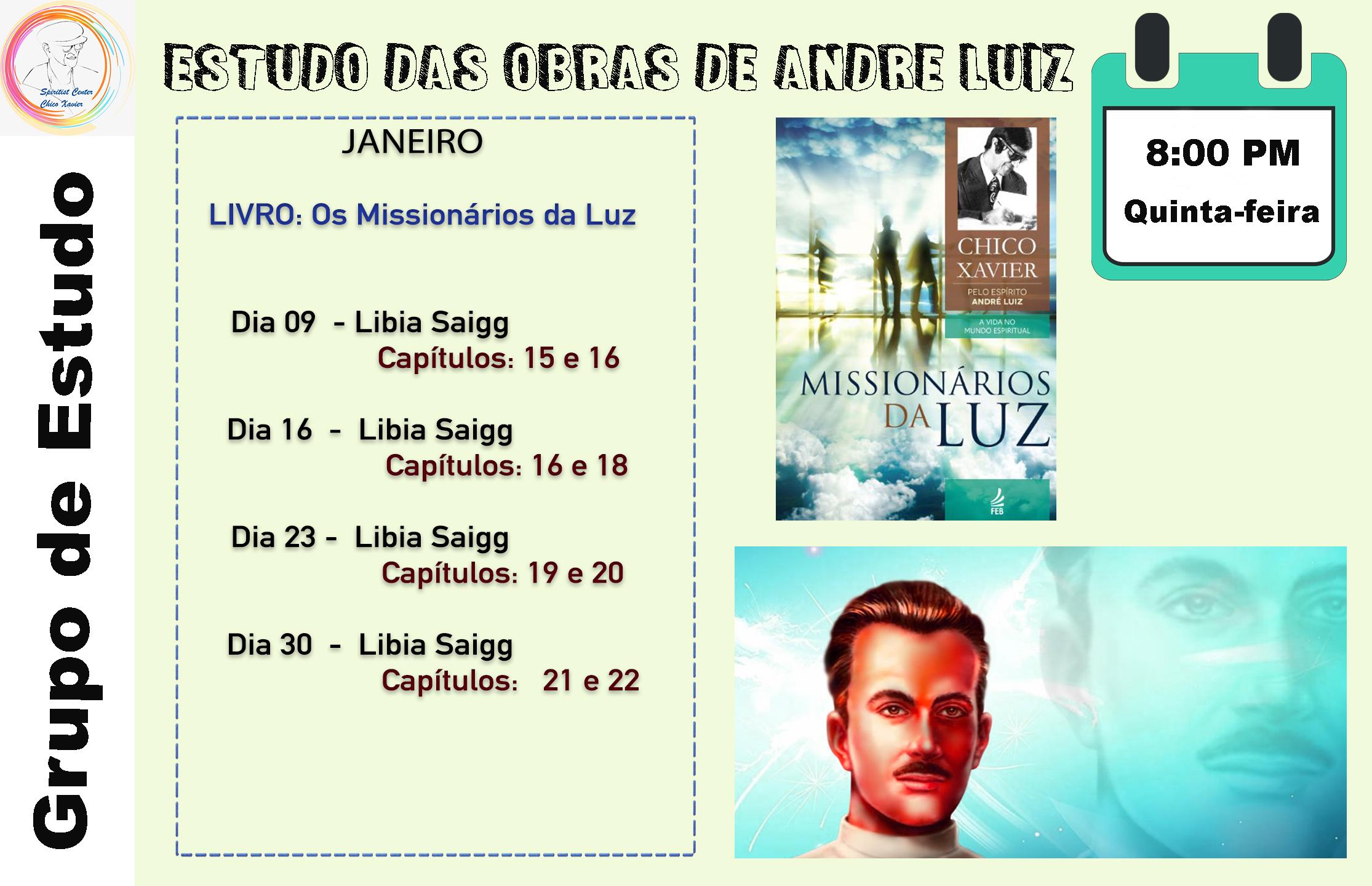 Estudos das Obras de Andre Luiz Jan 20