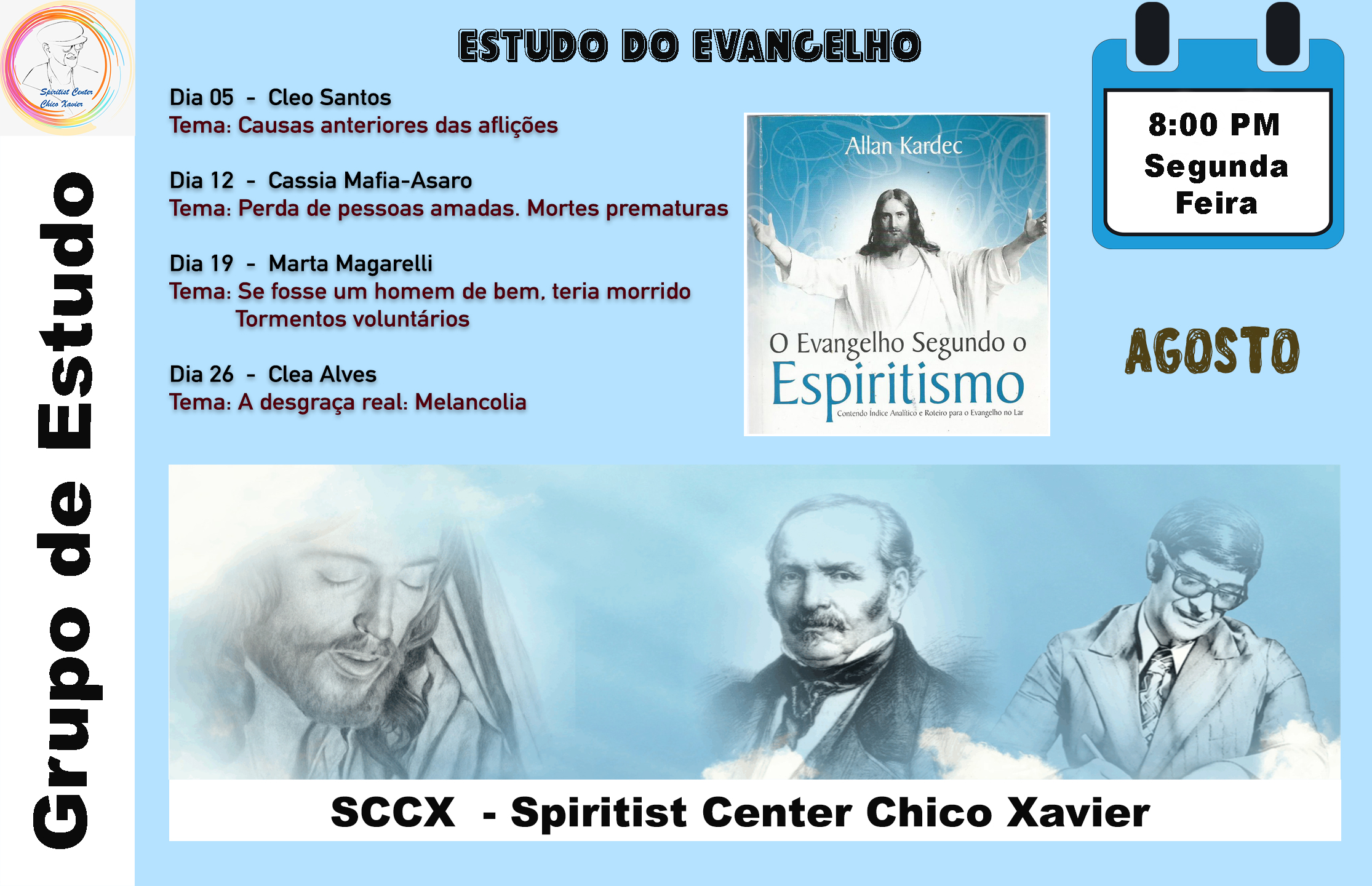 Grupo de Estudo - Estudos do Evangelho Agosto