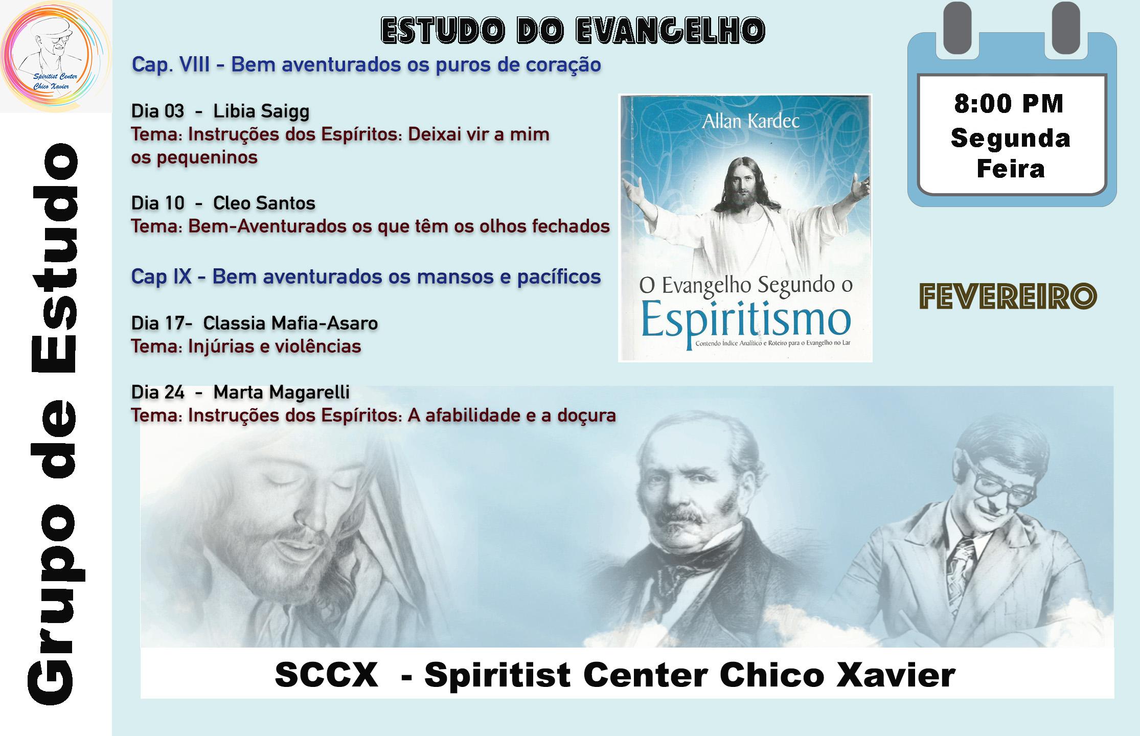 Grupo de Estudo - Estudos do Evangelho Fev 20